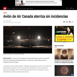 Avión de Air Canada aterriza sin incidencias - CNN
