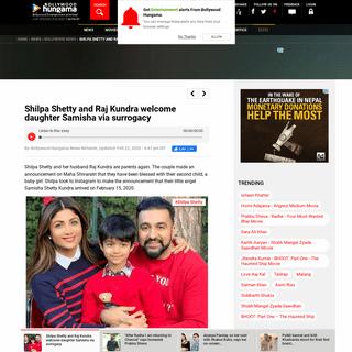 Shilpa Shetty and Raj Kundra welcome daughter Samisha via surrogacy - Bollywood News - Bollywood Hungama