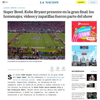 Super Bowl. Kobe Bryant presente en la gran final- los homenajes, videos y zapatillas fueron parte del show - LA NACION