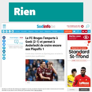Le FC Bruges l'emporte à Genk (2-1) et permet à Anderlecht de croire encore aux Playoffs 1