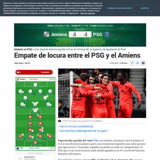 Amiens vs PSG Empate de locura entre el PSG y el Amiens - Ligue 1-