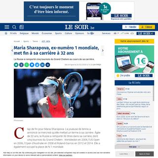 Maria Sharapova, ex-numéro 1 mondiale, met fin à sa carrière à 32 ans - Le Soir