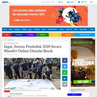 Ingat, Sensus Penduduk 2020 Secara Mandiri Online Dimulai Besok - Surya