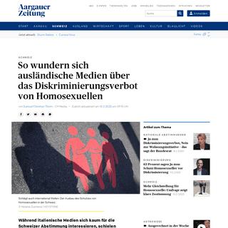 So wundern sich ausländische Medien über das Diskriminierungsverbot von Homosexuellen - Schweiz - Aargauer Zeitung
