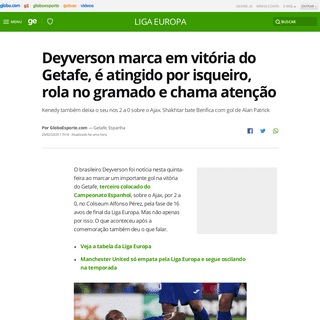 Deyverson marca em vitória do Getafe, é atingido por isqueiro, rola no gramado e chama atenção - liga europa - Globoesporte