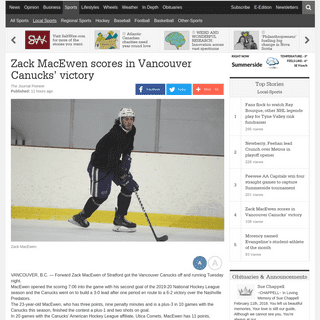Zack MacEwen scores in Vancouver Canucks' victory - Local-Sports - Sports - The Journal Pioneer