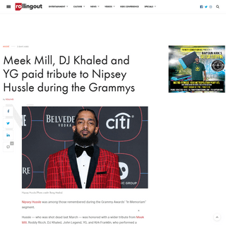 Meek Mill, DJ Khaled and YG paid tribute to Nipsey Hussle during the Grammys - Rolling Out