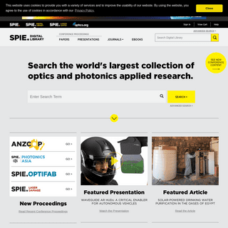 Search the world's largest collection of optics and photonics applied research.