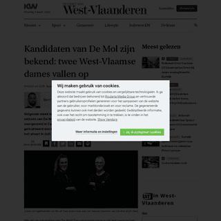 Kandidaten van De Mol zijn bekend- twee West-Vlaamse dames vallen op - Cultuur & media - KW