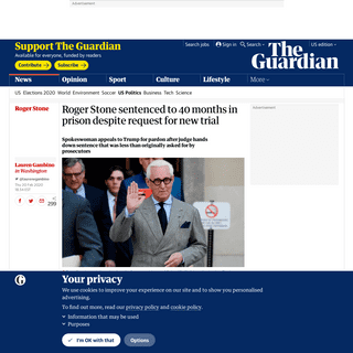 ArchiveBay.com - www.theguardian.com/us-news/2020/feb/20/roger-stone-sentence-judge-refuses-new-trial-request - Roger Stone sentenced to 40 months in prison despite request for new trial - US news - The Guardian