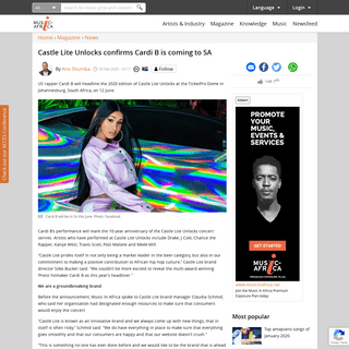 ArchiveBay.com - www.musicinafrica.net/magazine/castle-lite-unlocks-confirms-cardi-b-coming-sa - Castle Lite Unlocks confirms Cardi B is coming to SA     - Music In Africa