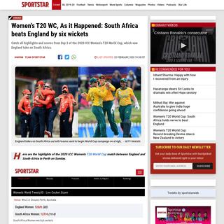 Women's T20 WC, As it Happened- SA beats England by 6 wickets - Sportstar