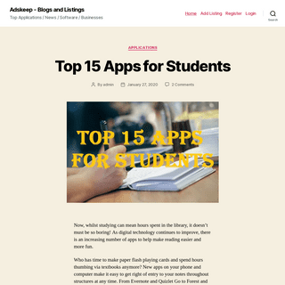 Adskeep – Blogs and Listings – Top Applications - News - Software - Businesses