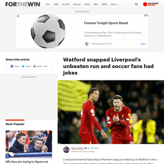 Watford snapped Liverpool's unbeaten run and soccer fans had jokes