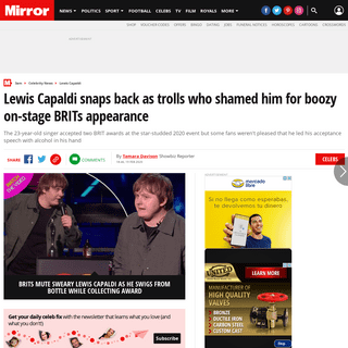 Lewis Capaldi snaps back as trolls who shamed him for boozy on-stage BRITs appearance - Mirror Online