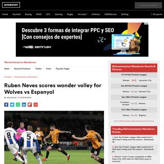 Ruben Neves scores wonder volley for Wolves vs Espanyol - GiveMeSport