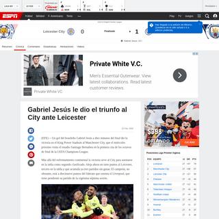 Leicester City vs. Manchester City - Reporte del Partido - 22 febrero, 2020 - ESPN