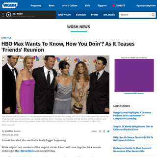 HBO Max Wants To Know, How You Doin'- As It Teases 'Friends' Reunion