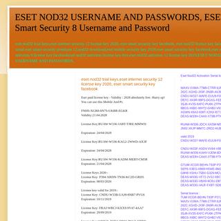 ESET NOD32 USERNAME AND PASSWORDS, ESET Smart Security 8 Username and Password