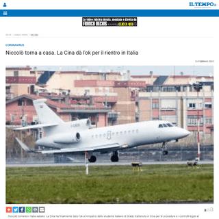 Niccolò torna a casa. La Cina ha dato l'ok per il rientro in Italia - Il Tempo