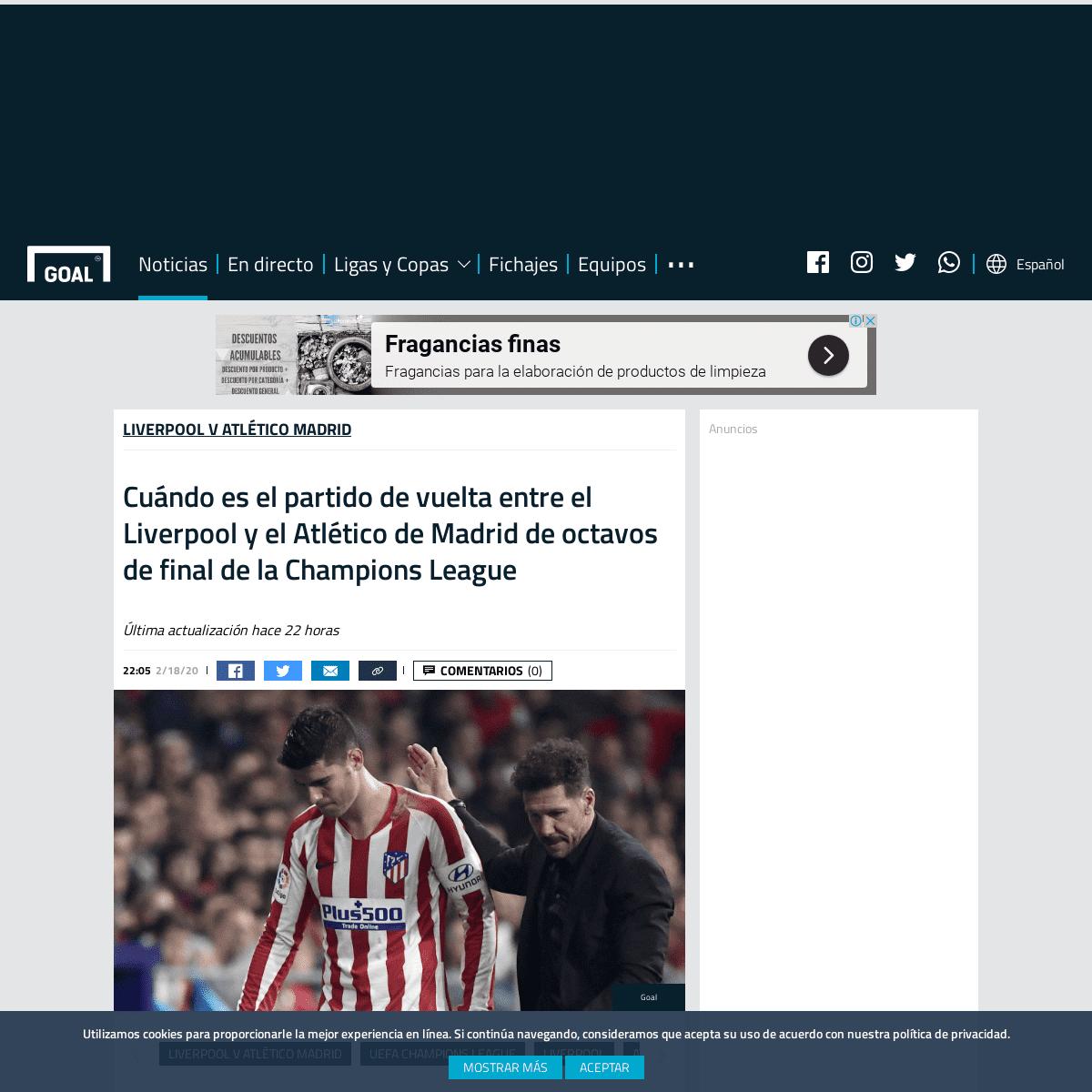 Cuándo es el partido de vuelta entre el Liverpool y el Atlético de Madrid de octavos de final de la Champions League - Goal.co