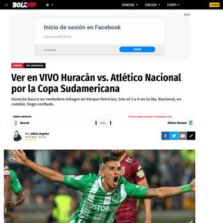 Ver en VIVO Huracán vs. Atlético Nacional por la Copa Sudamericana - Bolavip