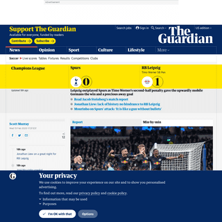 Tottenham 0-1 RB Leipzig- Champions League last 16 – as it happened - Football - The Guardian