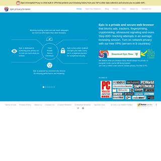 Epic Privacy Browser, a secure chromium-based web browser that protects your privacy and browsing history - a free VPN privacy b