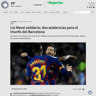 Lio Messi solidario- dos asistencias para el triunfo del Barcelona