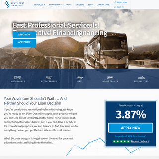 Nationwide Recreational Vehicle Financing - Best Rates - Southeast Financial