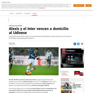 Alexis y el Inter vencen a domicilio al Udinese - AS Chile