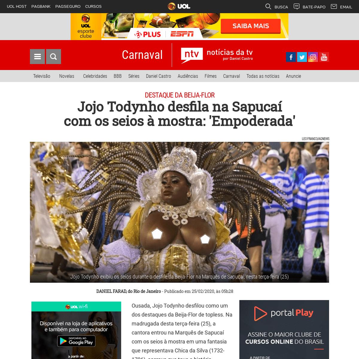 Jojo Todynho desfila na Sapucaí com os seios à mostra- 'Empoderada' · Notícias da TV