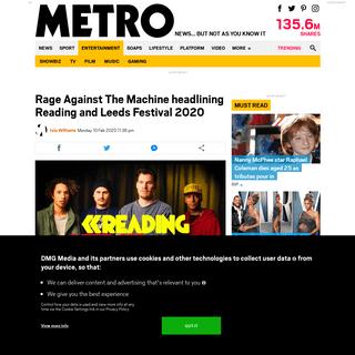 Rage Against The Machine headlining Reading and Leeds Festival 2020 - Metro News