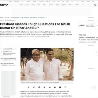 Prashant Kishor's Tough Questions For Nitish Kumar On Bihar And BJP