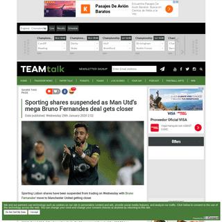 Sporting shares suspended as Man Utd's mega Bruno Fernandes deal gets closer