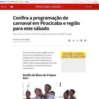 Confira a programação de carnaval em Piracicaba e região para este sábado - Piracicaba e Região - G1
