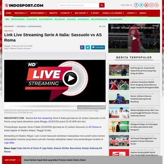 ArchiveBay.com - www.indosport.com/sepakbola/20200202/link-live-streaming-serie-a-italia-sassuolo-vs-as-roma - Link Live Streaming Serie A Italia- Sassuolo vs AS Roma - INDOSPORT
