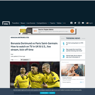 Borussia Dortmund vs PSG- How to watch on TV in UK & U.S., live stream, kick-off time - Goal.com