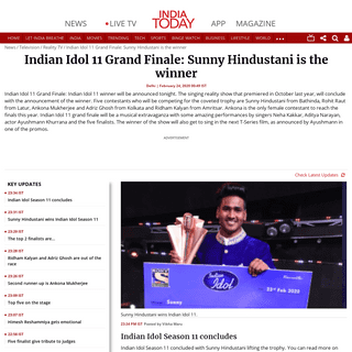Indian Idol 11 Grand Finale- Sunny Hindustani is the winner - India Today