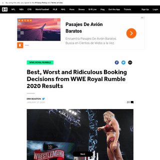 Best, Worst and Ridiculous Booking Decisions from WWE Royal Rumble 2020 Results - Bleacher Report - Latest News, Videos and High