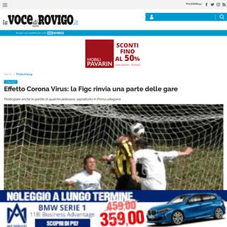 Effetto Corona Virus- la Figc rinvia una parte delle gare - La Voce di Rovigo