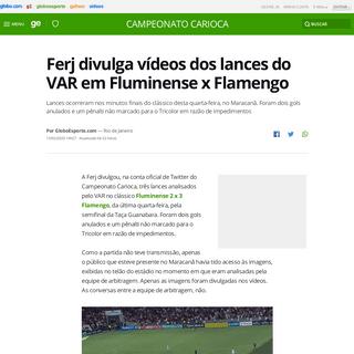 Ferj divulga vídeos dos lances do VAR em Fluminense x Flamengo - campeonato carioca - Globoesporte