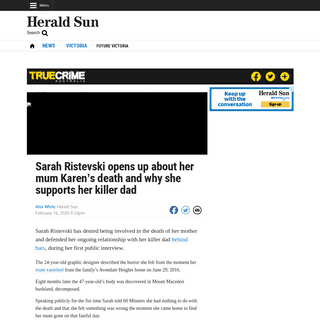 ArchiveBay.com - www.heraldsun.com.au/news/victoria/sarah-ristevski-opens-up-about-her-mum-karens-death-and-why-she-supports-her-killer-dad/news-story/5bf8f3b5499c9e334e20c736acd0c521 - Karen Ristevski killing- Sarah opens up about relationship with Borce - Herald Sun