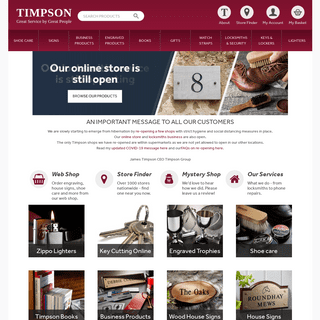 House Signs, Zippo Lighters, Shoe Care and Personalised Gifts by Timpson
