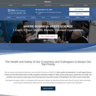 CPhI North America - Where Business Meets Science
