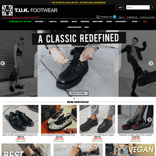 T.U.K. Footwear - Creeper Shoes, Platforms, Punk Boots, Vegan Shoes