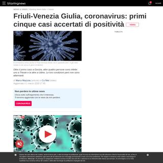 Friuli-Venezia Giulia, coronavirus- primi cinque casi accertati di positività