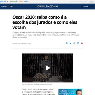 Oscar 2020- saiba como é a escolha dos jurados e como eles votam - Jornal Nacional - G1