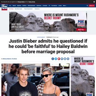 Justin Bieber admits he questioned if he could 'be faithful' to Hailey Baldwin before marriage proposal - Fox News