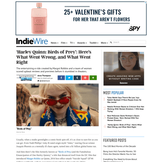 ArchiveBay.com - www.indiewire.com/2020/02/box-office-what-went-wrong-with-birds-of-prey-harley-quinn-what-went-right-1202210746/ - Harley Quinn- Birds of Prey- What Went Wrong, and What Went Right - IndieWire
